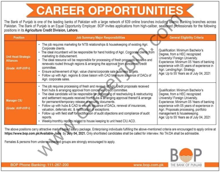https://www.bop.com.pk/Available-jobs - Bank of Punjab BOP Jobs 2021 in Pakistan