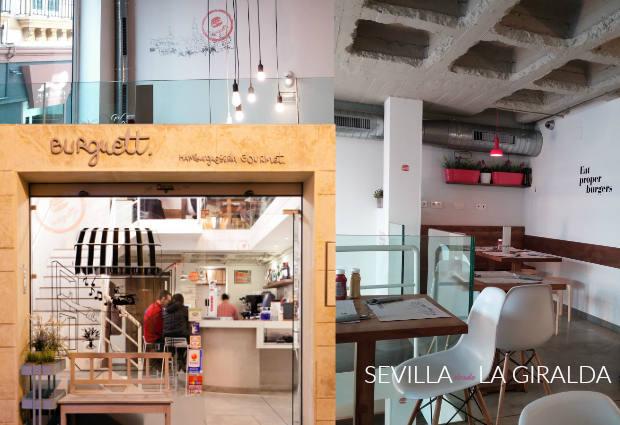 Fachada e interior de la hamburguesería gourmet sevillana Burguett