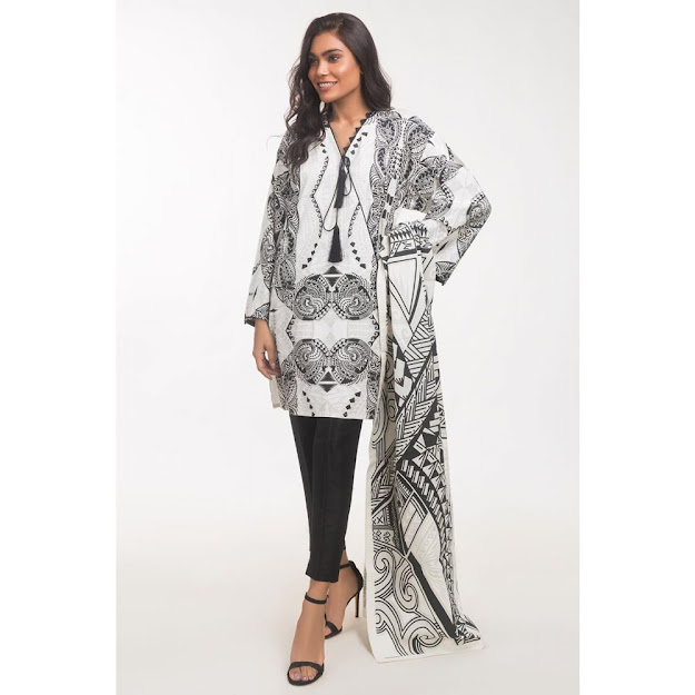 Gul Ahmed ready to wear solids cream color dresses