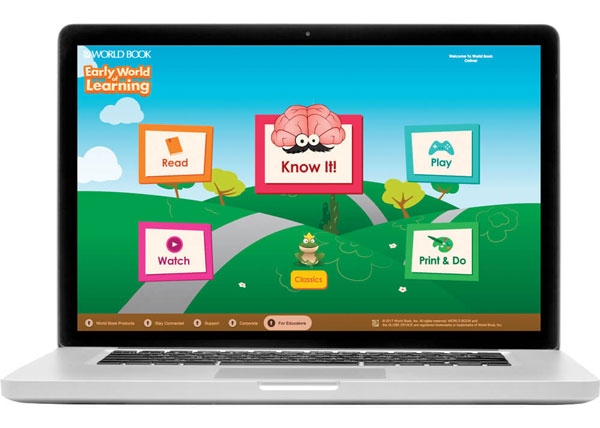 world book early world of learning website featured on laptop
