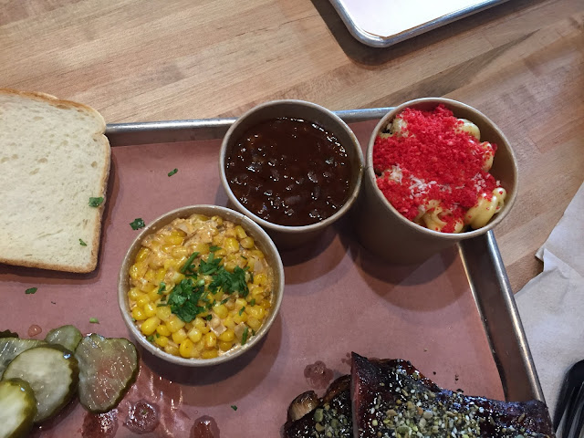 Pit beans, esquites and f'n' mac and cheese sides at Chicago Culinary Kitchen