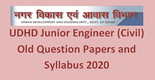 UDHD Junior Engineer (Civil) Old Question Papers and Syllabus 2020