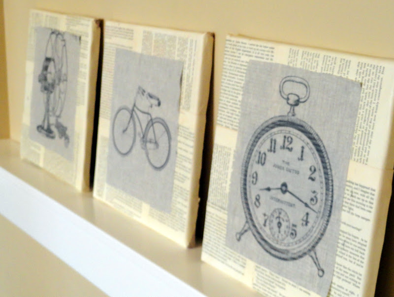 Linen and book page canvas - Rachel Teodoro