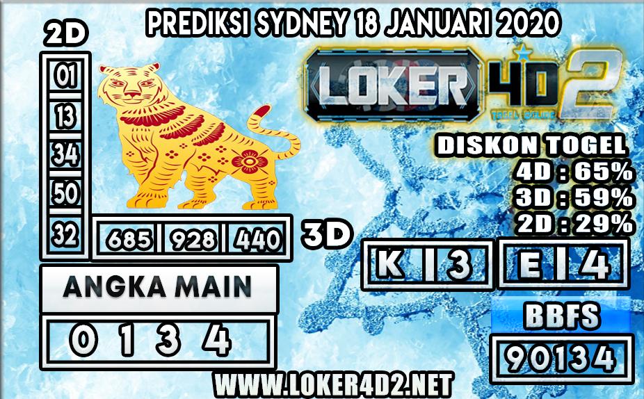 PREDIKSI TOGEL SYDNEY LOKER4D2 18 JANUARI 2020