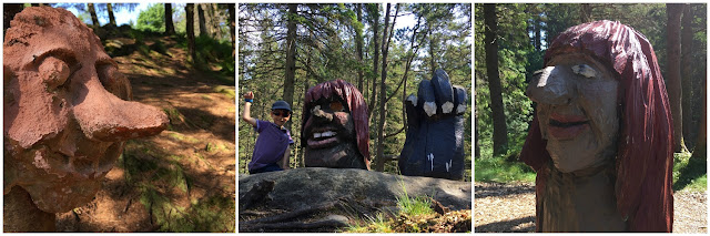 Wood carved trolls in Bergen forest