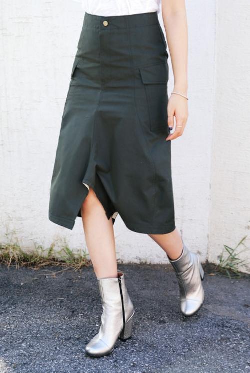 Uneven Hem A Line Skirt
