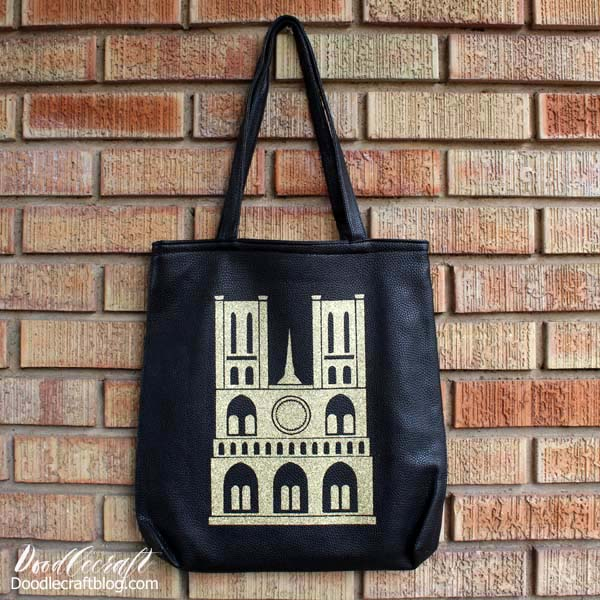 In memory of the Notre Dame cathedral this tote bag is Paris coture in gold glittery vinyl.