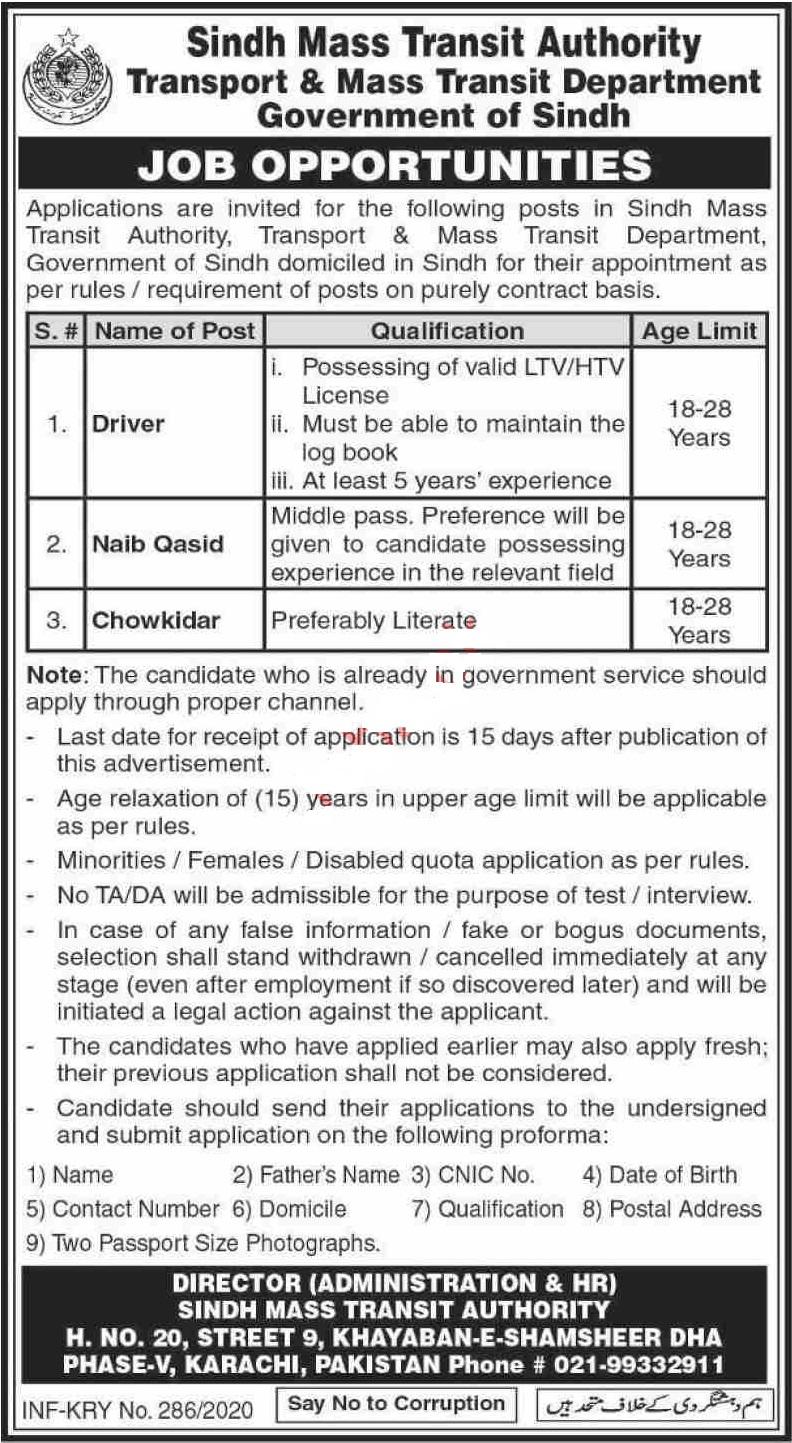 Sindh Mass Authority, Transport & Mass Transit Department Jobs 2020
