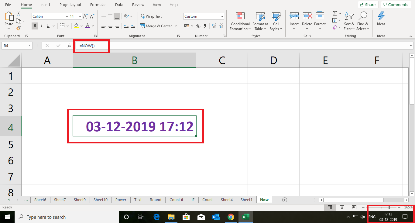 Excel Formula Now - Show Current Date & Time in one Cell