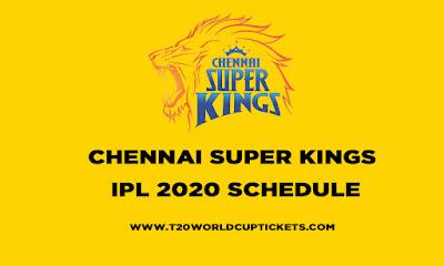 CSK IPL 2020 Schedule