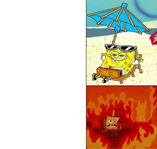 Polosan meme spongebob dan patrick 132 - spongebob kepanasan dipinggir pantai