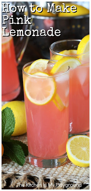 "How to Make Pink Lemonade ~ It's easy to make your own pink lemonade at home! If you love the fun & flavor of pink lemonade (or have a little one that does), follow these simple steps on how to make pink lemonade. All it takes is some homemade lemonade + one ""secret"" ingredient to whip up a pitcher of this refreshing & colorful favorite.  www.thekitchenismyplayground.com"