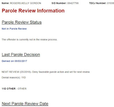Kelly G Rogers Denied Parole-Oh Happy Day!