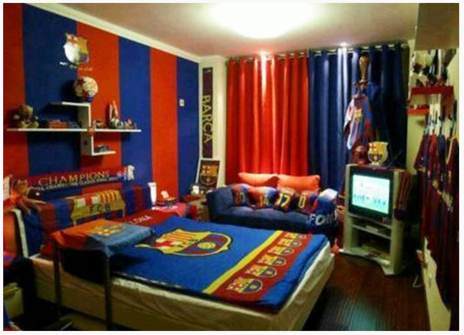Cool boys bedroom decoration with fc barcelona theme for Funky boys bedroom ideas