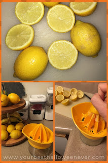 collage of lemons being juiced for a halloween drink recipe