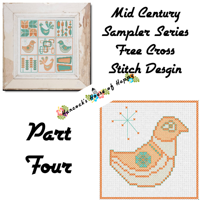 Mid-Century Madness: Free Country Style Mid-Century Cross Stitch Sampler Design Part IV