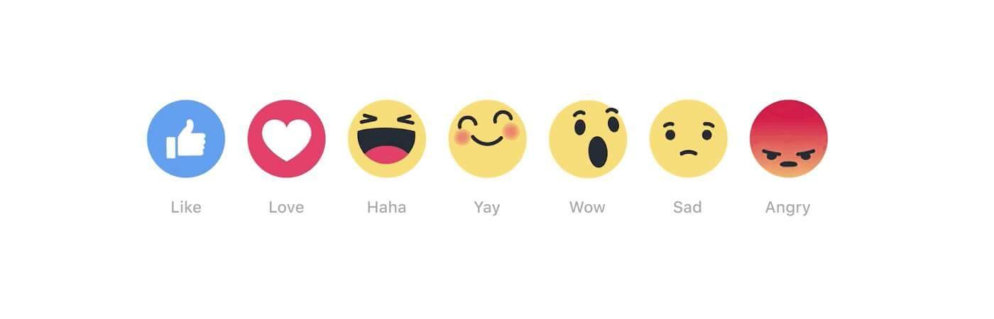 Biểu tượng cảm xúc Yay bên cạnh các Reactions khác