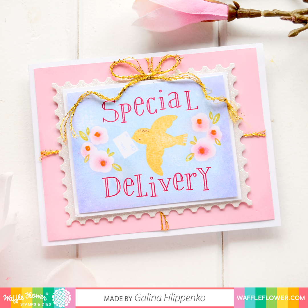 Waffle Flower, Special Delivery, stamp set, nesting postage die set, card making, handmade card, papercraft, stamping