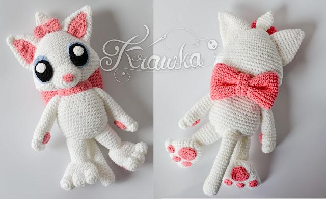 Krawka: Miss Kitty whita cat with bows crochet amigurumi pattern Aristocats Marie inspired by Krawka