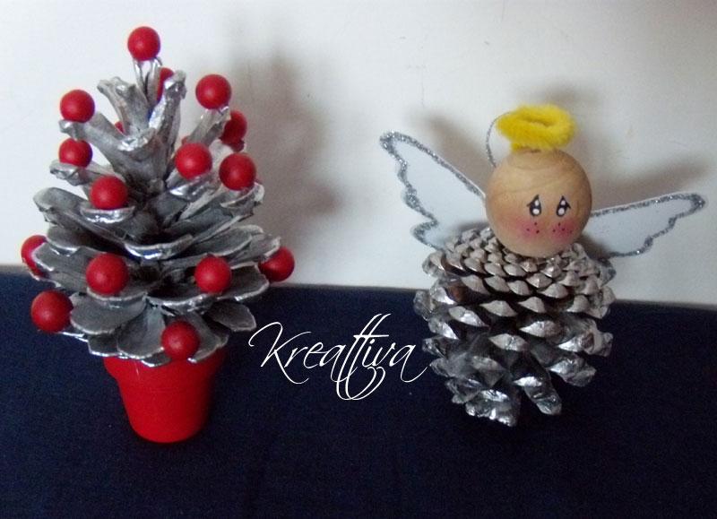 Progetti handmade per Natale: Angelo e Albero di natale con pigna