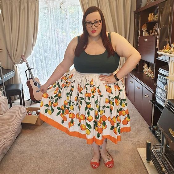 Pin Up Girl Couture Oranges Skirt