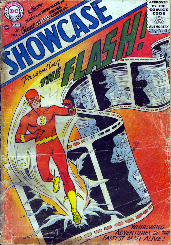 Showcase #4 (1956):  Carmine Infantino cover, penciler  Joe Kubert cover, inker  John Broome writer  Julius Schwartz editor