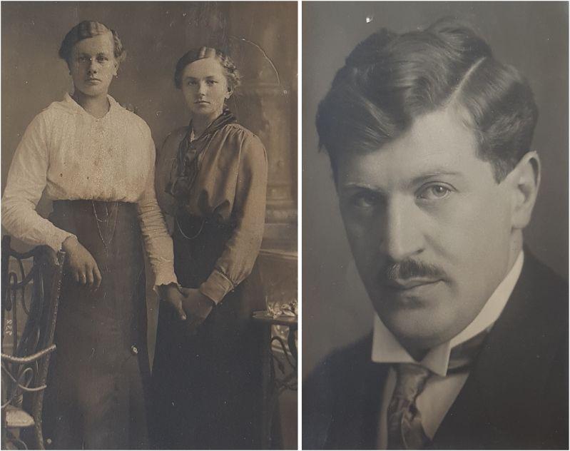 In der Mitte wieder meine Großmutter, link die Schwester, rechts der Verlobte
