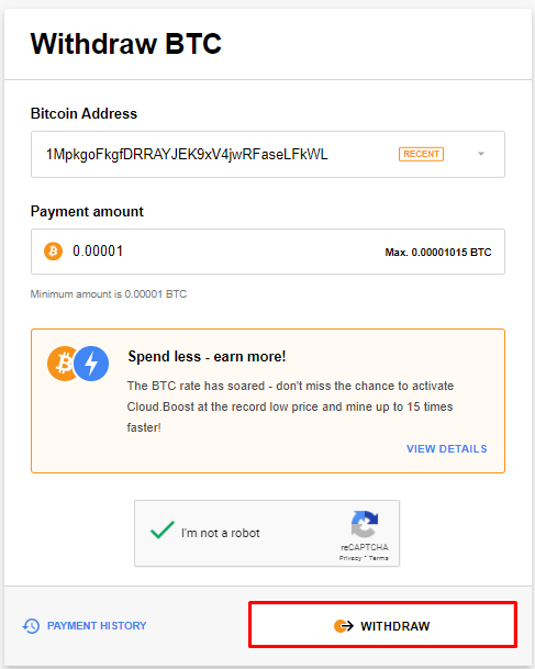 CryptoTab Payment Withdraw