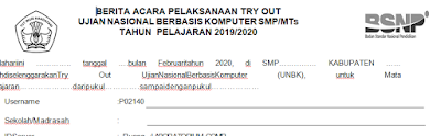 Download Format Berita Acara Try Out SD/MI,SMP/MTs,SMA/MA Terbaru