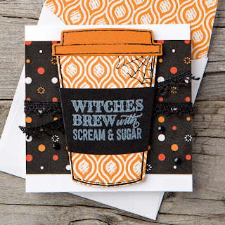 Stampin' Up! Merry Cafe Halloween Witches Brew Mini Card ~ 2017 Holiday Catalog
