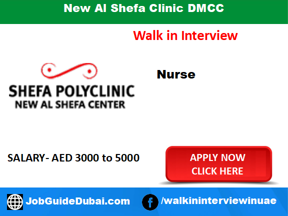 New Al Shefa Clinic DMCC career for Nurse job in Dubai