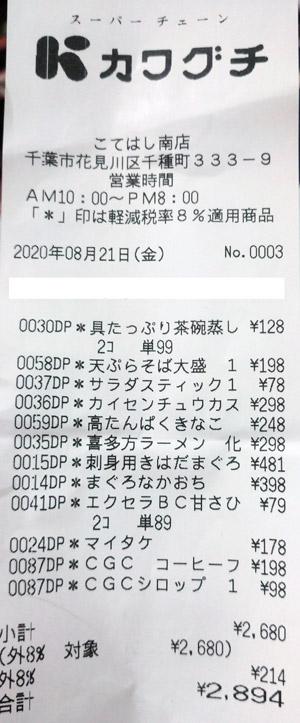 カワグチ こてはし南店 2020/8/21 のレシート