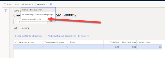 Click Generate to create Automatic credit limits