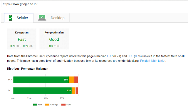 Tampilan Baru Google PageSpeed Insights