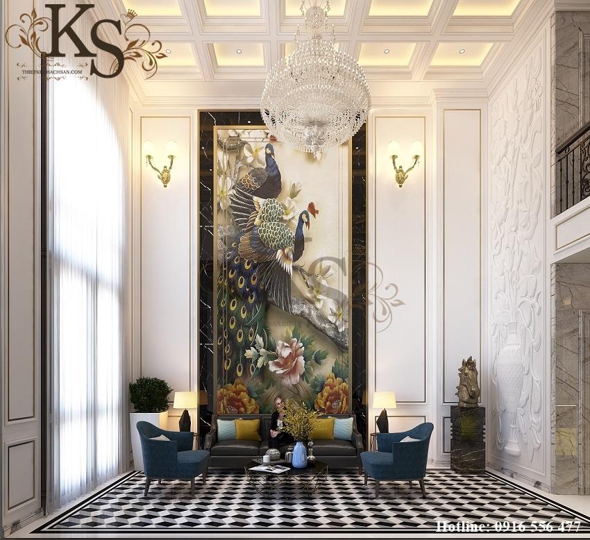 Hình ảnh: Thiết kế nội thất khách sạn khu vực dành cho khách chờ tiện nghi thoải mái, cách bài trí không gian tạo nên sự sang trọng và cuốn hút.