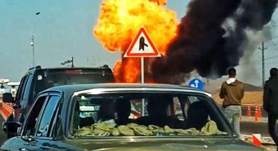 شاهد انفجار سياره تحمل أنابيب غاز بالقرب من العاشر