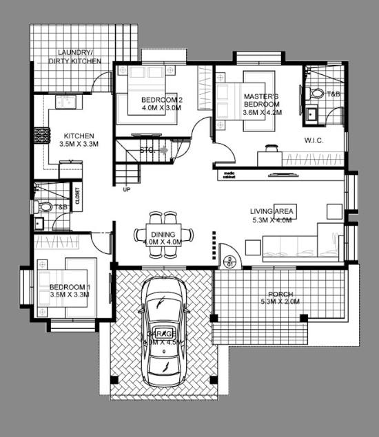 Desain rumah 1 1/2 lantai 4 kamar tidur