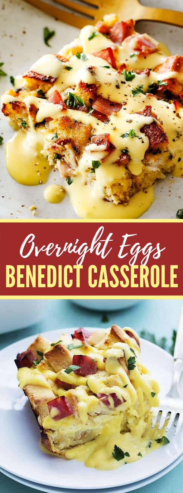 Eggs Benedict Casserole (Overnight Breakfast Casserole) #brunch #easyrecipes