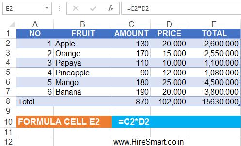Excel Multiplication Formulas
