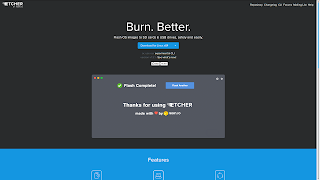 Screenshot of Etcher.io's homepage