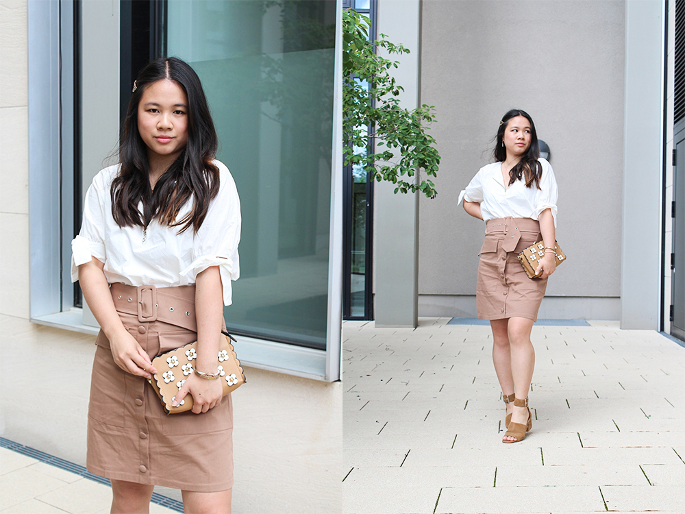 NA-KD Cargo belted skirt