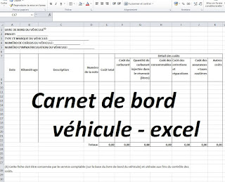 carnet carnet de bord v hicule excel cours g nie civil outils livres exercices et vid os. Black Bedroom Furniture Sets. Home Design Ideas