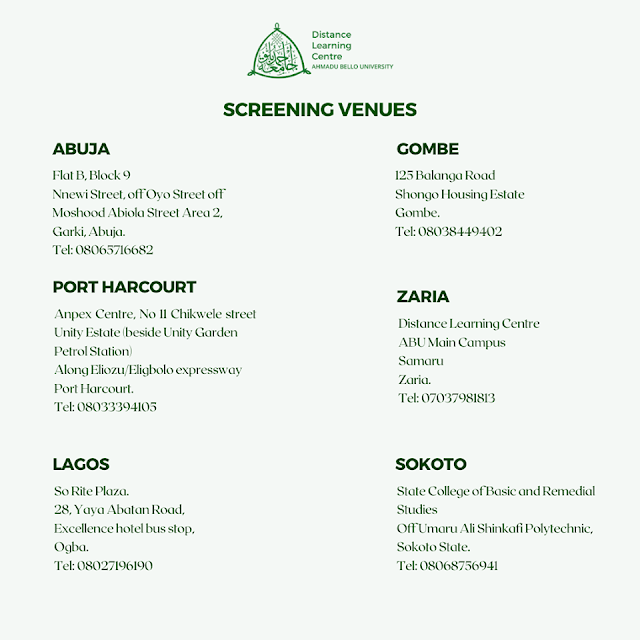 ABU DLC Screening Centers & Registration Venues 2019/2020