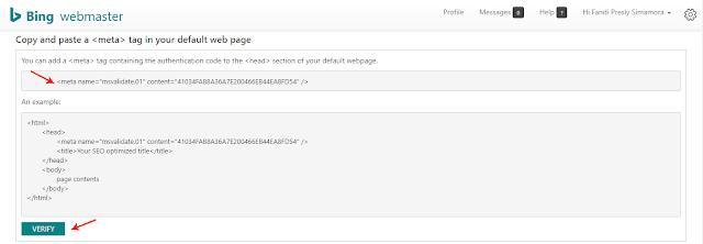Lakukan Verifikasi Manual dengan Cara Salin Meta Verifikasi Bing Webmaster