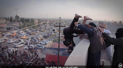 Gay man thrown of a building top by ISIS members in Iraq on Oct. 4, 2015