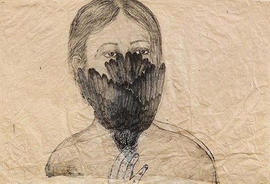 Kiki Smith Ohne Titel (Woman with Bird), 2003 ink on paper