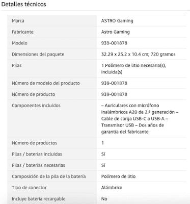 Características auriculares Astro Gaming A20