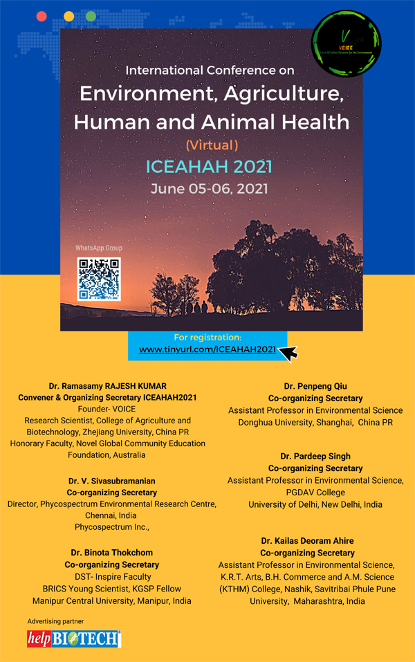 International Conference on Environment, Agriculture, Human and Animal Health ( ICEAHAH2021)   June 05-06, 2021