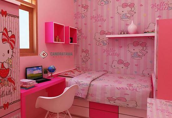 35 Desain Gambar Dekorasi Kamar Hello Kitty Simple Sederhana